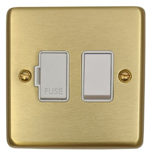 G&H CSB57W Standard Plate Satin Brushed Brass 1 Gang Fused Spur 13A Switched